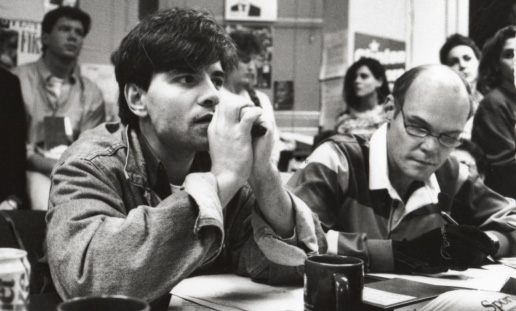 """George Stephanopoulos and James Carville in """"The War Room."""""""