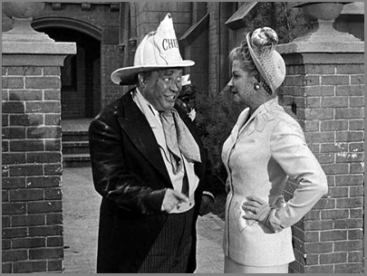 "Joe Besser and Christine McIntyre in ""Waiting in the Lurch"" (1949)."