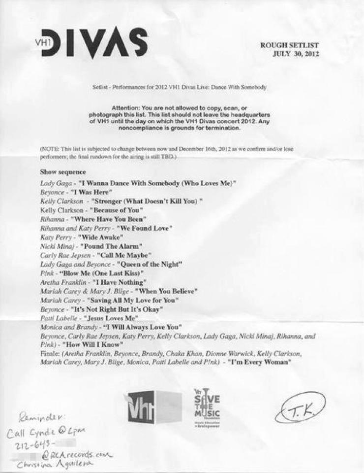 VH1 Divas Set List