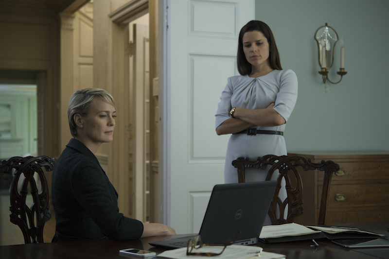 """House of Cards"" Season 4 Robin Wright & Neve Campbell"