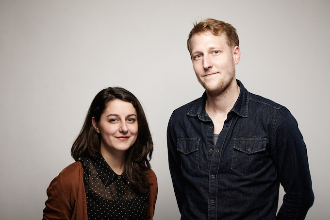"Derek Howard and Maya Bankovic, cinematographer of ""My Prairie Home"" at the Canon Craft Cocktails Portrait Studio at the 2014 Sundance Film Festival"