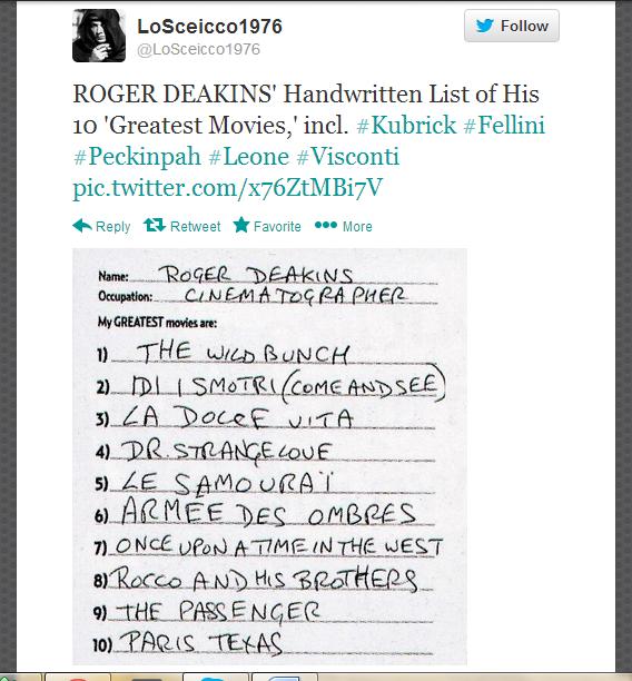 Cinematographer Roger Deakins Handwritten List Of Top 10 Films