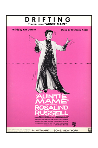 Rosalind Russell on the cover of 'Drifting' from 'Auntie Mame'. (Warner Bros.)