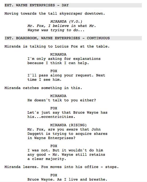 The Dark Knight Rises Deleted Scene Script