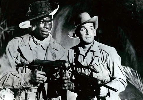 "Nat ""King"" Cole and Gene Barry in Sam Fuller's 'China Gate'."