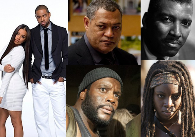 (clockwise from top right) newscaster Bob Teague, Dania Gurira and Chad Coleman in The Walking Dead, Lauren London and Jay Ellis in The Game, Laurence Fishburne in Hannibal