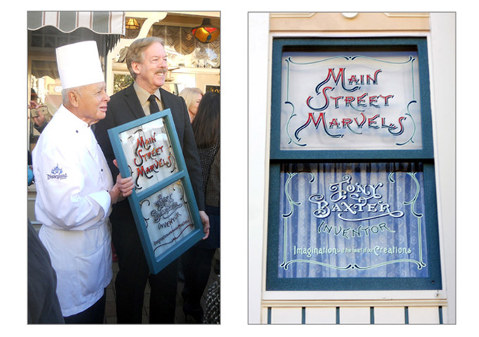 Imagineer Tony Baxter and a fellow Disneyland veteran pose with a replica of Tony's window on Main Street. The window itself resides just above the magic shop.