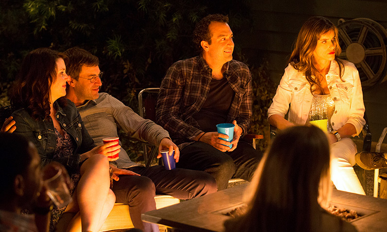 "Melanie Lynskey, Mark Duplass, Steve Zissis and Amanda Peet in ""Togetherness."""