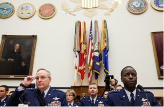 Gen. Mark A. Welsh III, left, and Gen. Edward A. Rice Jr. appeared before the House Armed Services Committee on Wednesday. 