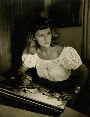 Mary Blair at work in her studio