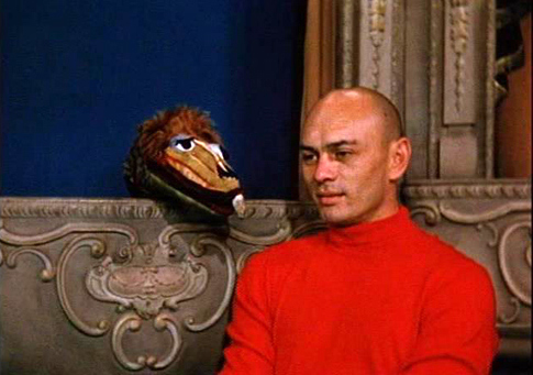 "Oliver J. Dragon with Yul Brynner; one of many stars to appear on ""Kukla, Fran and Ollie."""