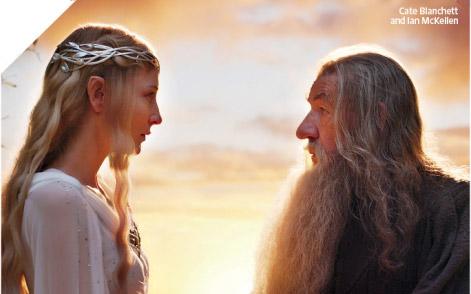 Ian Mckellen, Cate Blanchett Hobbit, (skip crop)