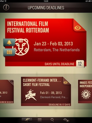 A shot of the ifilmfest iPad app.