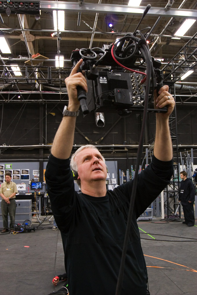 James Cameron on set