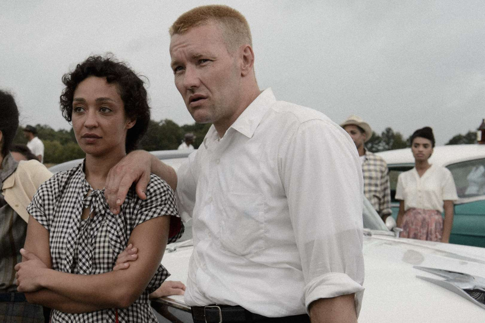 "Ruth Negga and Joel Edgerton as Mildred and Richard Loving, on the set of the movie ""Loving,"" being shot in Richmond, Va."
