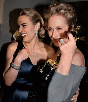 Kate Winslet and Meryl Streep, with Winslet's Oscar for The Reader, 2009.