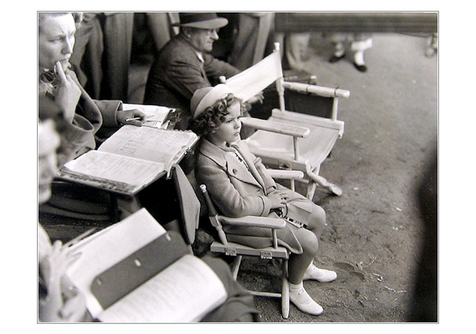 Work or play? Shirley on the set in the 1930s