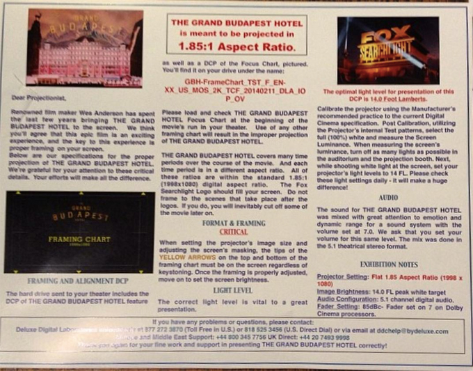 The Grand Budapest Hotel instructions