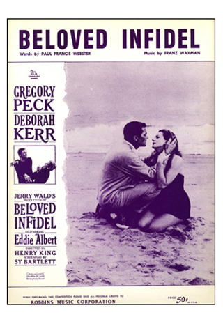 Gregory Peck and Deborah Kerr are our stars taking to the beach on the cover of this sheet music from the film of the same name. (20th Century Fox)