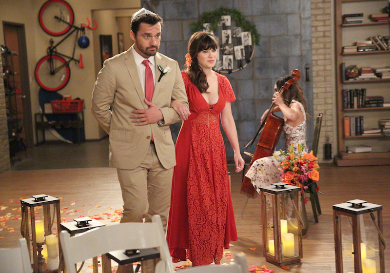 Review new girl just ended whether fox knows it or not for Zooey deschanel wedding dress