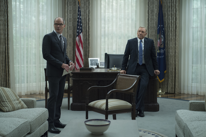 """House of Cards"" Season 4 Michael Kelly & Kevin Spacey"
