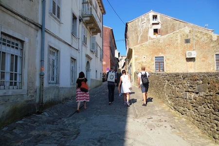 Walking up the hill to Motovun meeting areas