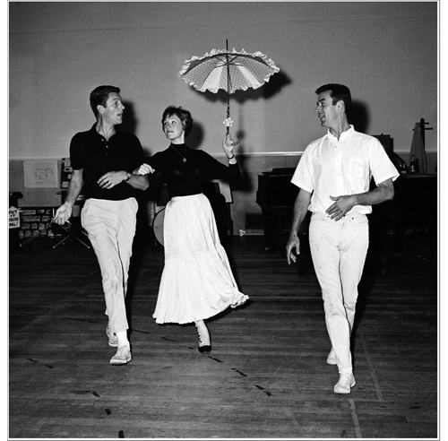 """Choreographer Marc Breaux (right) puts Dick Van Dyke and Julie Andrews through their paces in rehearsal for """"Mary Poppins""""  (photo courtesy the Walt Disney Company)"""