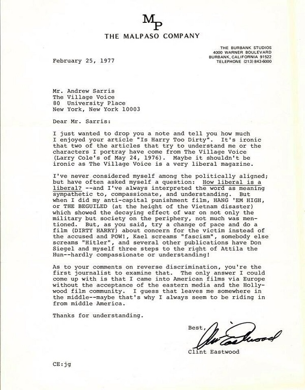 Read This: Clint Eastwood's 1977 Thank You Letter to Critic Andrew ...