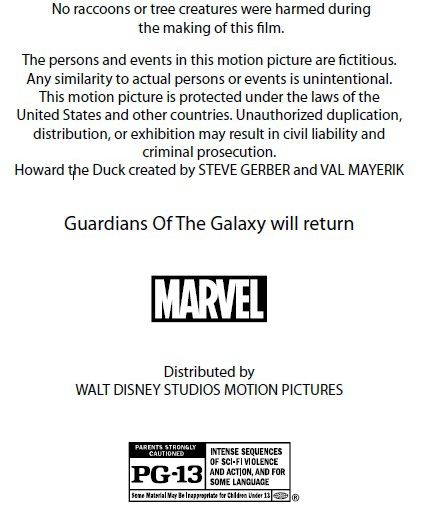 Guardians Of The Galaxy Credits