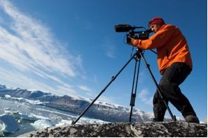 Chasing Ice Director Jeffery Orlowski shooting in Uummannaq, Greenland, Summer of 2007