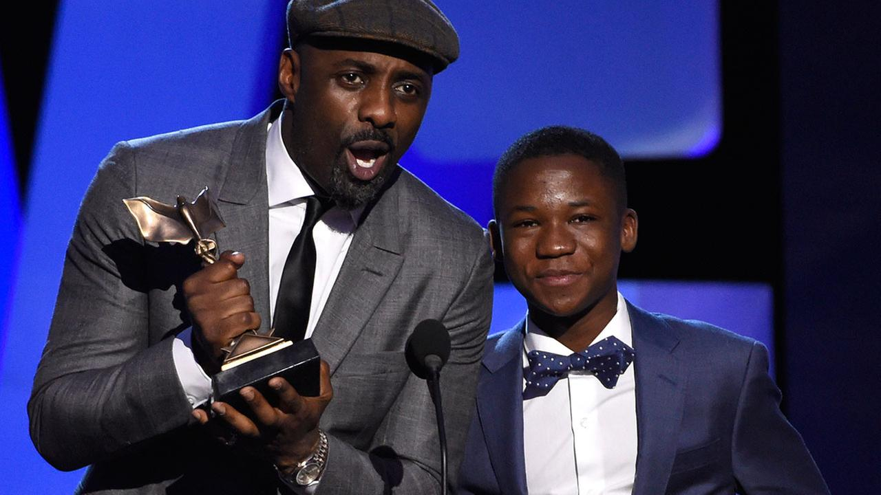"""""""Beasts of No Nation"""" co-stars Idris Elba and Abraham Attah at the Film Independent Spirit Awards 2016"""