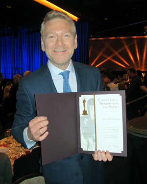 I asked Kenneth Branagh if he'd show off his Oscar nomination certificate, and he kindly obliged.