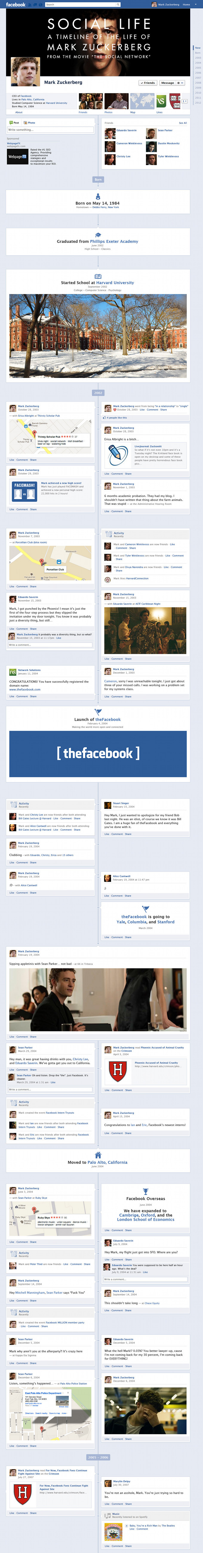 The Social Network Facebook Timeline Infographic