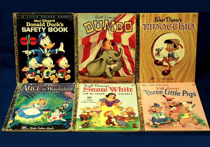8 Disney Golden Book Lot:Snow White, Pinocchio, Bambi, Dumbo +4 more Favorites