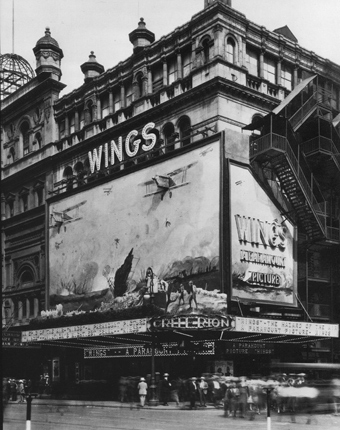 This is how the Criterion Theater was decked out for its premiere engagement of 'Wings' in 1927. The film played first-run in Manhattan for two solid years!