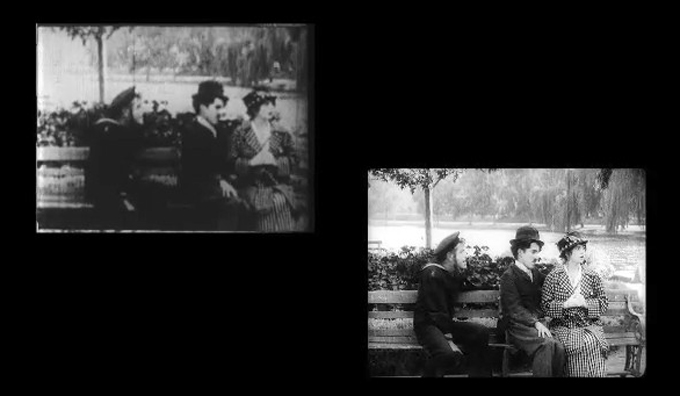 The old version of Charlie Chaplin's 1914 comedy 'Recreation' (left) and CineMuseum's new reconstruction (right).