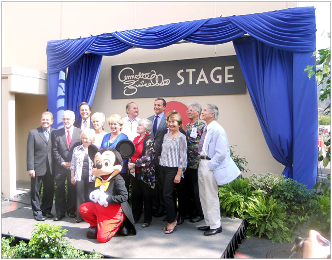 Annette's second husband Glen Holt and Disney CEO and Chairman Bob Iger pose outside the newly-named Annette Funicello Stage with a group of the original Mouseketeers from year one of the Mickey Mouse Club.
