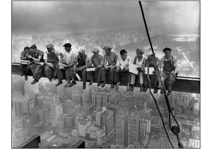 Men at Lunch on Beam-680