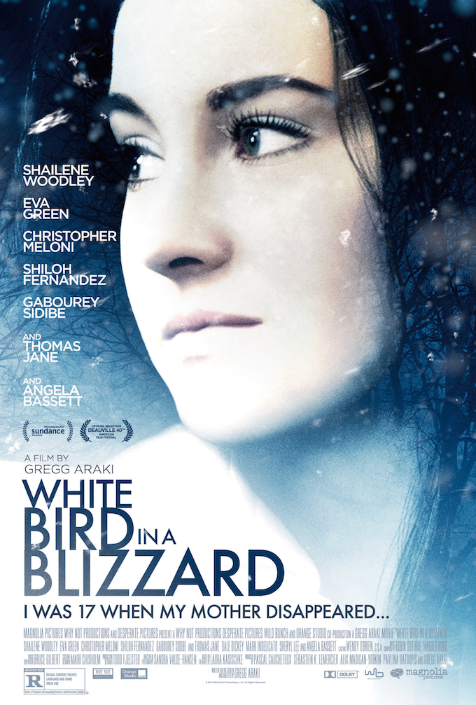 "Shailene Woodley in the poster for ""White Bird in a Blizzard"""