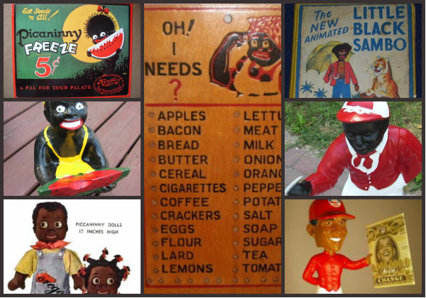 These are all products found for sale on eBay, including a Barack Obama lawn jockey bobblehead.