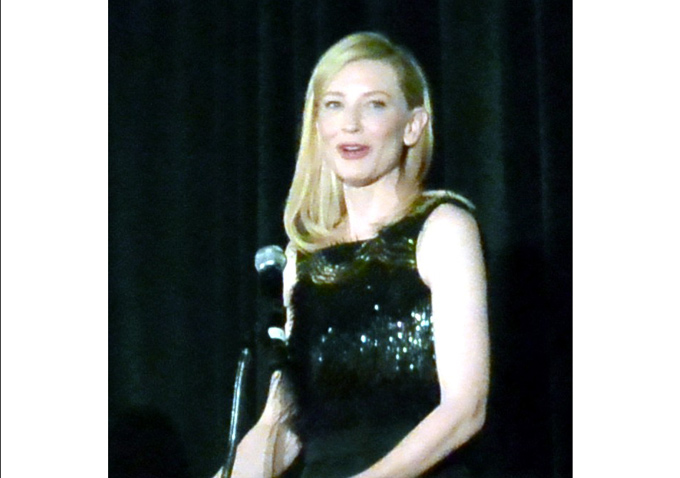 "Cate Blanchett charmed the audience with her acceptance speech; she tied with Adèle Exarchopoulos as Best Actress for ""Blue Jasmine"" and gave all the credit to Woody Allen."