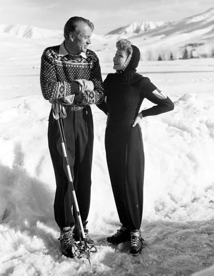 Gary Cooper and Claudette Colbert at Sun Valley Lodge
