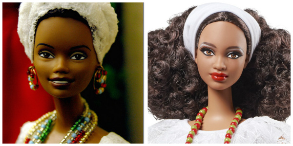 The latest version of Barbie Brazil (right) does a much better job at representing the Brazilian woman of color, but is still missing some of the more African features seen in an earlier model of the Baiana Barbie (left).