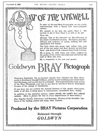 "This trade advertisement for Fleischer's ""Out of the Inkwell"" series dates back to 1919"