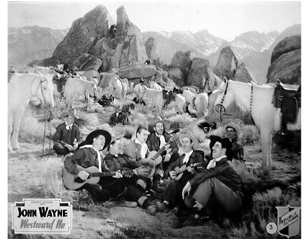 "Here's John Wayne and friends in a musical moment from ""Westward Ho"" (1935) —"