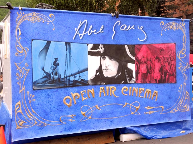 Abel Gance's 'Napoleon' launched an annual tradition of outdoor screenings more than 30 years ago; this banner decorates the projection booth.