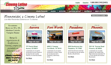 Cinema Latino theaters exhibit first run Hollywood blockbusters, either dubbed or subtitled in Spanish