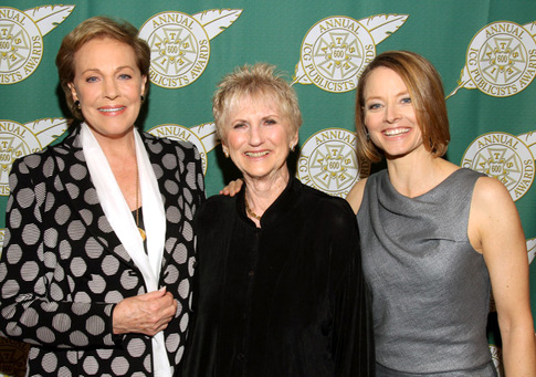 Julie Andrews and Jodie Foster flank Disney's own Arlene Ludwig at the ICG Publicist Guild Awards.