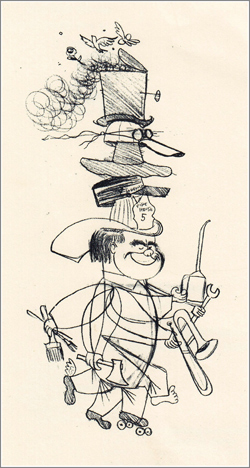 A typically whimsical self-portrait by Ward Kimball indicating his many hats, not all of which were symbolic: he wore the fireman's helmet when he played trombone with the Dixieland band The Firehouse Five Plus Two.
