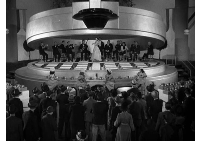 "The giant waffle-iron stage in ""Happily Buried"" (1939)"